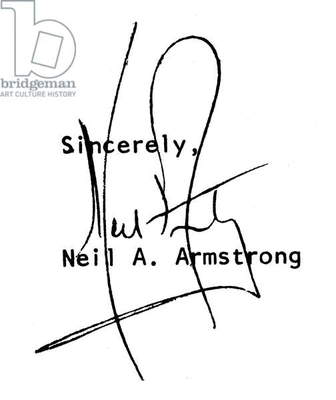 NEIL ARMSTRONG (1930- ) American astronaut. Autograph signature.