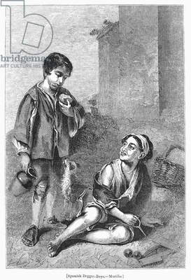 SPAIN: BEGGAR BOYS Wood engraving, 1841, after the 17th-century painting by Murillo.