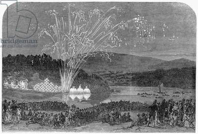 FIREWORKS AT CHRISTIANIA A view of fireworks at Christiania (present day Oslo, Norway). Wood engraving, English, 1869.