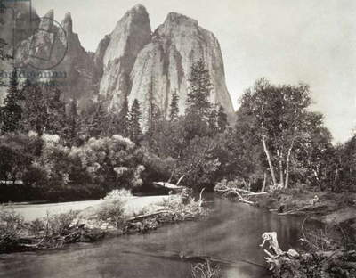 MUYBRIDGE: CATHEDRAL ROCKS The Cathedral Rocks formation at Yosemite National Park in California. Photograph by Eadward Muybridge, c.1870.