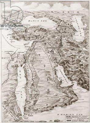 WORLD WAR I: MIDDLE EAST Map, 1919, of the Middle East and the lines of battle during World War I.