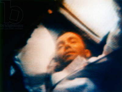 APOLLO 13, 1970 Astronaut Fred W. Haise in flight during the Apollo 13 mission. Photograph from live color television transmission, 12 April 1970.