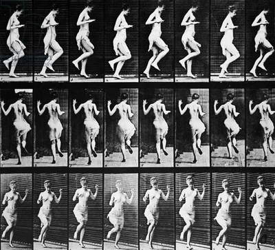 MUYBRIDGE: SEQUENCE, 1887 'Figure Hopping.' Sequence of eight stages of movement photographed in 1887 by Eadweard Muybridge (1830-1904), American motion picture pioneer, using multiple cameras at three positions.