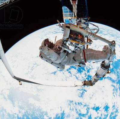 SPACE: ASTRONAUT, 1993 Astronaut Jeffrey Hoffman during extravehicular activity as part of the STS-61 mission. Photograph, 1993.