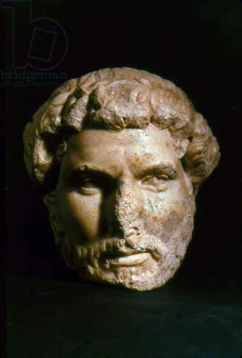 HADRIAN (76-138 A.D.) Roman emperor, 117-138 A.D. Contemporary marble portrait head from the ruins of the Mazaeus-Mithridates Gate in Ephesus, Turkey.