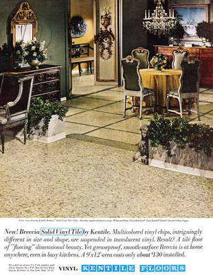 AD: VINYL FLOORING, 1962 American advertisement for vinyl Kentile Floors. Photograph, 1962.
