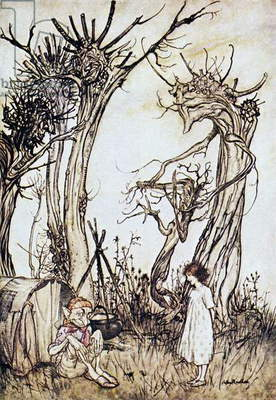 MOTHER GOOSE, 1913 'The Man in the Wilderness.' Illustration by Arthur Rackham for a 1913 edition of 'Mother Goose.'