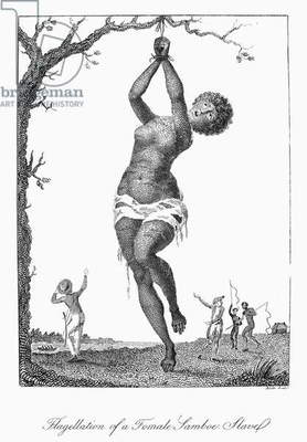 SURINAM: PUNISHMENT, 1796 Flagellation of a female lamboe slave. Line engraving by William Blake from the 'Narrative of an expedition against the Revolted Negroes of Surinam' by J.G. Stedman, published in 1796.