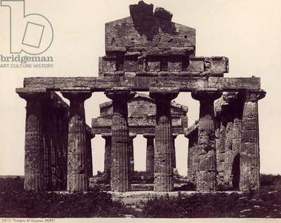 ITALY: TEMPLE OF CERES Ruins of Temple of Ceres (Tempio di Cerere), a Greek Doric temple in Campania, Italy built in the 6th century, B.C. Photograph, 1890s.