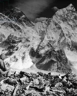 NEPAL: MOUNT EVEREST The Everest group of peaks, Nepal. Photograph, 20th century.