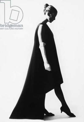 FASHION: BALENCIAGA, 1967 Dress of black gazar designed by Cristobal Balenciaga, 1967. Photographed by Cecil Beaton.