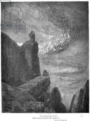 DANTE: INFERNO 'The stormy blast of hell; With restless fury drives the spirits on.' Wood engraving, 1861, after Gustave Dore.