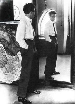EGON SCHIELE (1890-1918) Austrian painter. Photographed in his studio, 1915.