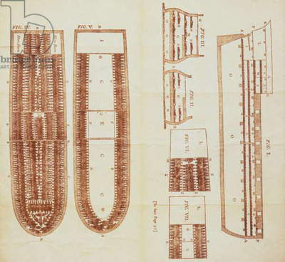 SLAVE SHIP, 1790 Plan of slave ship, English engraving.