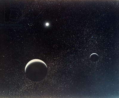 PLUTO AND MOON, 1990 Pluto and its moon, Charon. Illustration for NASA, 1990.