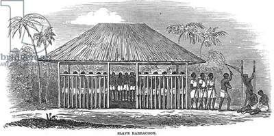 AFRICA: SLAVE PEN, 1849 A slave barracoon on the Soloman River, Sierra Leone. Wood engraving, English.