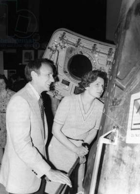ASTRONAUTS, 1977 Soviet cosmonaut Valentina Tereshkova Nikolayeva touring the Johnson Space Center with American astronaut Alan Bean. Photograph, 1977.
