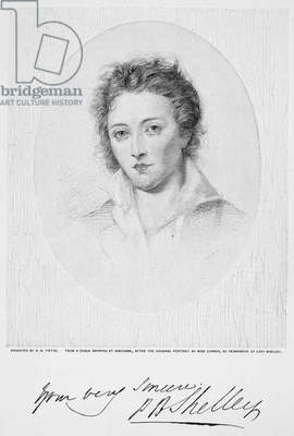 PERCY BYSSHE SHELLEY (1792-1822). English poet. Wood engraving, late 19th century, after the painting, 1819, by Amelia Curran.