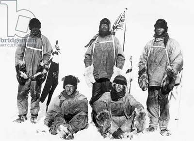 ROBERT FALCON SCOTT (1868-1912). English Antarctic explorer. Scott and his companions on the Terra Nova expedition at the South Pole in January 1912. Left to right: Captain Lawrence Oates, Lt. Henry R. Bowers, Robert F. Scott, Dr. Edward A. Wilson, Petty Officer Edgar Evans.