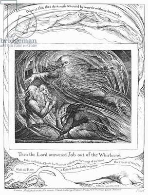 BLAKE: BOOK OF JOB, 1825 'Then the Lord Answered Job Out of the Whirlwind.' Etching by William Blake from 'The Book of Job,' 1825.