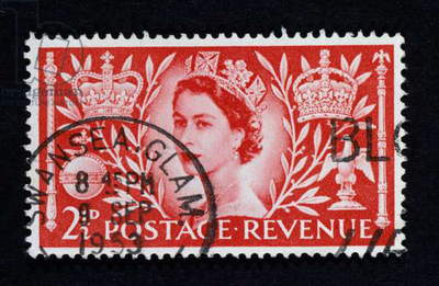 QUEEN ELIZABETH II: STAMP Queen Elizabeth II of England on two-penny British stamp commemorating her coronation in 1953.