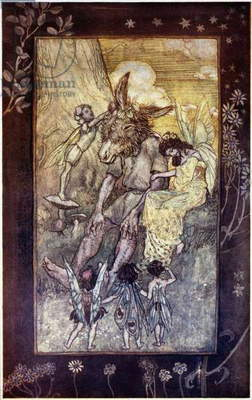 MIDSUMMER'S NIGHT DREAM Bottom and the fairies. Pen and ink by Arthur Rackham, 1899-1906.