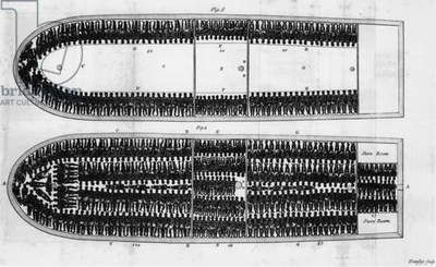 SLAVE SHIP, 19th CENTURY Diagram of a slave ship. Engraving by Hemsley, 19th century.