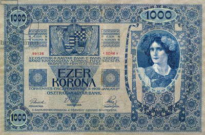 HUNGARY: BANKNOTE, 1902 1000 korona banknote issued in the Austro-Hungarian Empire by the Austrian-Hungarian Bank, with text in Hungarian, 1902. On the reverse is the German-language version.