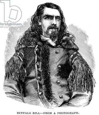 WILLIAM F. CODY (1846-1917) William Frederick Cody. Known as Buffalo Bill. American frontiersman and showman. Wood engraving, 19th century.