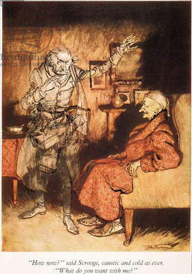 DICKENS: A CHRISTMAS CAROL Marley's Ghost appears to Scrooge. Illustration by Arthur Rackham for Charles Dickens'