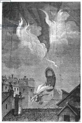 MARIE BLANCHARD, 1819 The death of Marie Blanchard, wife of aeronaut Jean Pierre Blanchard, when her balloon caught fire during a demonstration over Paris, 6 June 1819. Contemporary engraving.