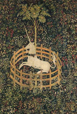 UNICORN TAPESTRY The Lady and the Unicorn Tapestry (late 15th century): Unicorn in Captivity.