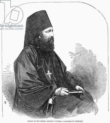 GREEK ORTHODOX PRIEST Line engraving, 1853, after a calotype by Roger Fenton.