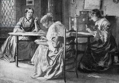 BRONTË SISTERS Charlotte (1816-1855), Emily Jane (1818-1848) and Anne (1820-1849) Brontë writing in the rectory at Haworth, in Yorkshire, England. Engraving after a watercolor, English, 19th century.