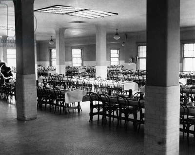 ELLIS ISLAND, 1931 The dining hall at Ellis Island. Photograph, 1931.