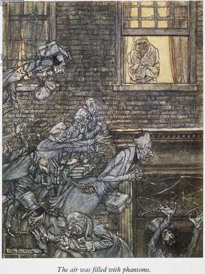CHRISTMAS CAROL Scrooge sees the air filled with phantoms. Illustration by Arthur Rackham for Charles Dickens' 'A Christmas Carol.'