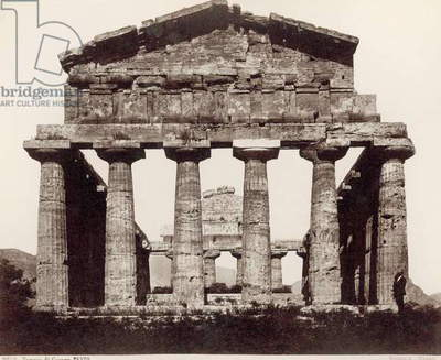 ITALY: TEMPLE OF CERES Ruins of the Temple of Ceres (Tempio di Cereres), a Greek Doric temple in Campania, Italy built in the 6th century, B.C. Photograph, 1890s.
