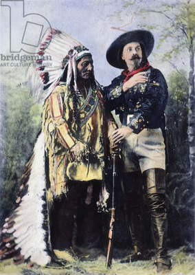 SITTING BULL & BUFFALO BILL Oil over a photograph taken at Montreal in 1885, while Sitting Bull appeared with Buffalo Bill's Wild West Show.