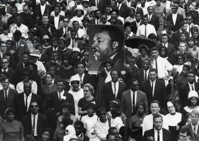 MARTIN LUTHER KING FUNERAL A large photograph of slain civil rights leader Dr. Martin Luther King, Jr., being carried amidst a crowd of mourners on the occasion of his funeral at Atlanta, Georgia, 9 April 1968, five days after his assassination at Memphis, Tennessee.