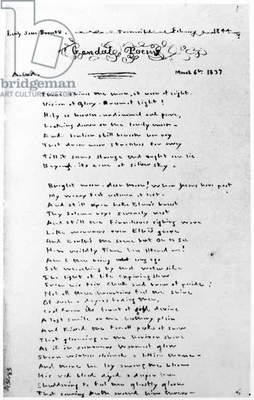 EMILY BRONTË: POEM The beginning of Emily Jane Brontë's poem 'There shines the moon, at noon of night,' composed in March 1837, and copied by the author into the 'Gondal Poems' manuscript here reproduced in February 1844.