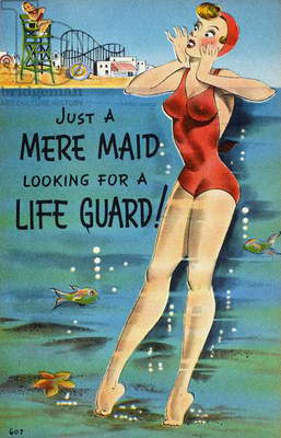 AMERICAN POSTCARD, c.1950 'Just a mere maid looking for a lifeguard!'