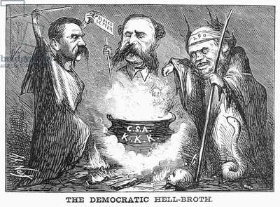 CARTOON: ELECTION OF 1868 'The Democratic Hell-Broth.' American cartoon by Thomas Nast, 1868, deriding Democratic presidential nominee Horatio Seymour (right) and his running mate, Francis Prestion Blair, Jr., (left) for their white-supremacist, pro-Southern platform.