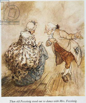 CHRISTMAS CAROL Mr and Mrs Fezziwig dancing. Illustration by Arthur Rackham for Charles Dickens' 'A Christmas Carol.'