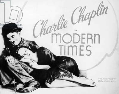 MODERN TIMES: POSTER American poster, 1936, for Charlie Chaplin's film 'Modern Times' featuring Chaplin and Paulette Goddard.