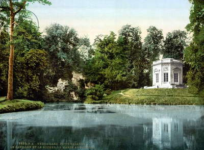 VERSAILLES: PETIT TRIANON A view of the Belvedere Pavilion and the Rock of Marie Antoinette at the Petit Trianon, at the palace of Versailles, France. Photochrome, c.1900.