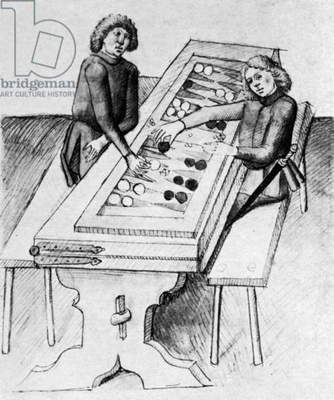 BACKGAMMON, 15th CENTURY Illustration from 'Der Renner,' by Hugo von Trimberg, German, 15th century.