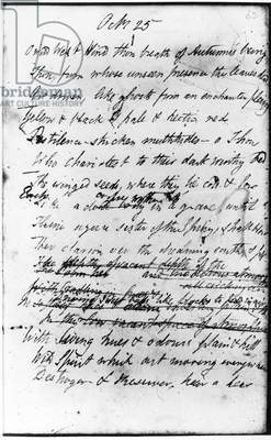 PERCY BYSSHE SHELLEY (1792-1822). English poet. Manuscript page of Shelley's poem, 'Ode to the West Wind,' 1819.