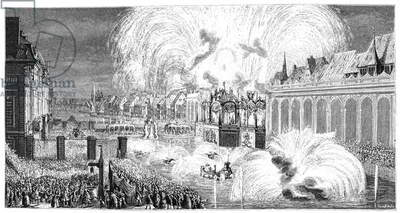 FRANCE: FIREWORKS, 1744 Fireworks on the Ill in Strasbourg, France, 1744. Engraving, c.1875.