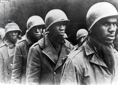 WORLD WAR II: SOLDIERS Black, American soldiers taken prisoner by German troops near Luxembourg, January 1945.