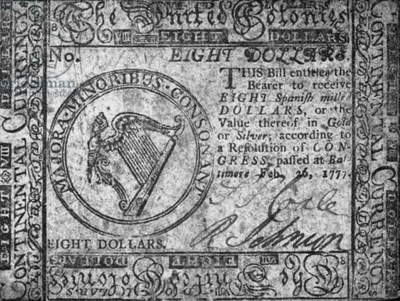 CONTINENTAL CURRENCY, 1777 United Colonies Continental Currency eight dollar banknote, 1777.